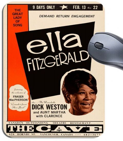 Ella Fitzgerald At The Cave Concert Poster Mouse Mat. Vintage Jazz Mouse Pad